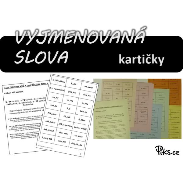 kartičky - VYJMENOVANÁ SLOVA