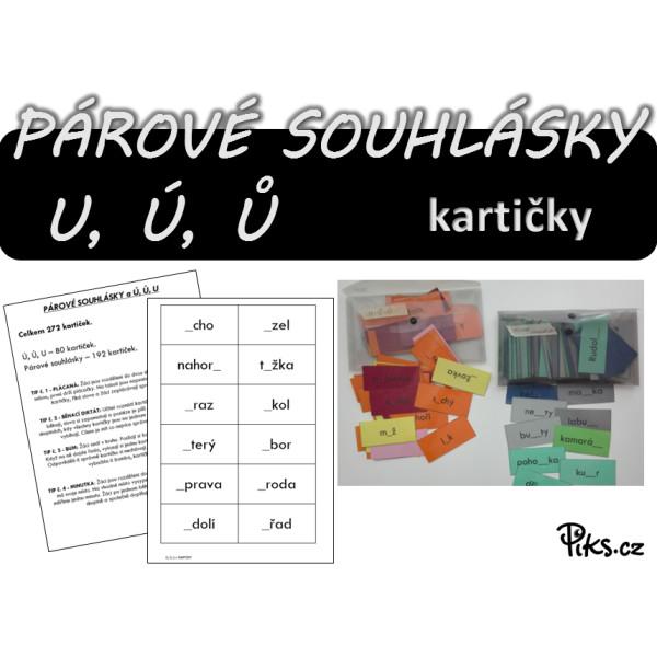 kartičky - PÁROVÉ SOUHLÁSKY a U, Ů, Ú